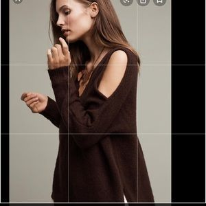 Anthropologie brown cold shoulder sweater